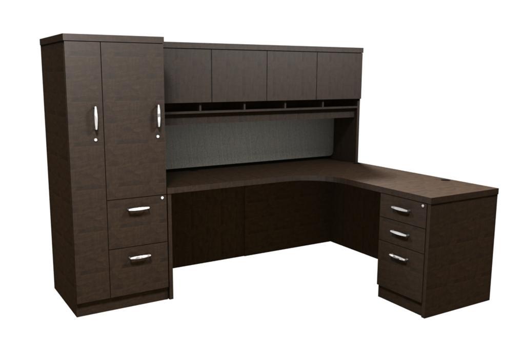 Trendway Executive Intrinsic Right 66 X 72 Corner Desk W Pm Hutch Wardrobe Tower