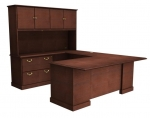 "Cambria Laminate ""U"" Unit w/ Lateral File Credenza & Hutch, Left"