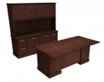 Cambria Laminate Executive Desk & Credenza Package w/ Hutch