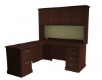 "Cambria Laminate ""L"" Desk & Return w/Hutch, Left Hand"
