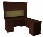 "Cambria Laminate ""L"" Desk & Return w/ Hutch, Right Hand"