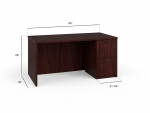 "Basyx 60"" Laminate Desk with 1 Ped"