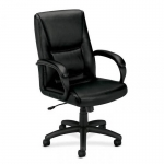 BASYX Mid-Back Leather Chair Fixed Padded Loop Arms