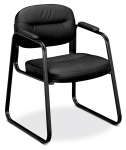 BASYX Leather Sled Base Guest Chair w/Padded Arms
