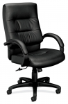 BASYX Plush Leather  High-back Leather Chair w/ Padded Arms