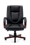 OTG Luxhide Executive Chair w/ Wood Arm and Base