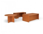 OTG Superior Laminate Bow Front Desk with Credenza and Table