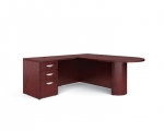 Ventnor Wood Veneer L-Shape Desk w/ D-Top
