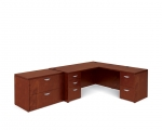 OTG Ventnor Wood Veneer L-Shape desk with 2DR Lateral File