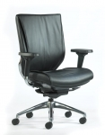 Trendway Code Full Leather Task Chair with Adjustable Arms