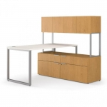 "HON Voi 60""  L-Station w/ Low Credenza and Storage"