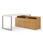 "HON Voi 60""  L-Station w/ Low Credenza Layered Shlf"
