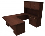 "Cambria Laminate ""U"" Unit w/ Lateral File Credenza & Hutch, Right"