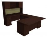 "Cambria Laminate Executive ""U"" Unit w/ 2 Door Hutch, Left Hand"