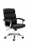 HON Mid Back Leather Exec Chair w/ Chrome Detail