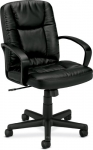 Basyx Leather Chair Fixed Padded Loop Arms