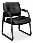 BASYX Leather Steel Sled Base Guest Chair