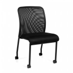 OTG Armless Mesh Fabric Back Guest Chair with Casters
