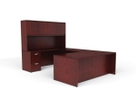 OTG Ventnor Wood Veneer U-Shape Desk Unit with Overhead