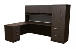 Trendway Executive Intrinsic Left 66 x 72 Corner Desk  with PM Hutch & Wardrobe Tower