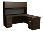 Trendway Executive Intrinsic Right 66 x 72 Corner Desk with Paper Management Hutch