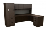 Trendway Executive Intrinsic Right 66 x 72 Corner Desk w PM Hutch & Wardrobe Tower